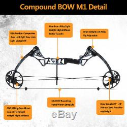 19-70lbs Archery Compound Bow 19-30 Draw Length Hunting Shooting Adjustable M1