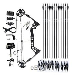 20-70 lbs Archery Compound Bows Sets Hunting Right Handed 12 Arrwoheads 2 Sets