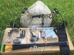 20-70lbs Right Hand Camo Compound Bow Set And 12X Arrows Hunting Target Archery
