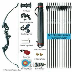 30-50LBS Archery Takedown Recurve Bow Set Arrows Target Right Hand Hunting