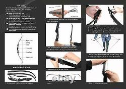 30-50lb Takedown Recurve Bow Mixed Carbon Arrow Kit Adult Archery Hunting Target