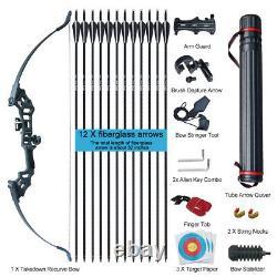 30-50lbs Archery 51 Takedown Recurve Bow Kit 12x Arrows Hunting Fishing Adult