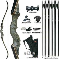 30-60LBS Takedown Archery Recurve Bow Longbow Adults Hunting Target Practice