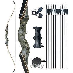 30-60lbs Archery 60 Recurve Bow Set Longbow Kit 10x Arrows Hunting Targeting