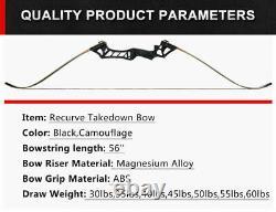 30-70lb Archery 57 Takedown Recurve Bow Set Kits Hunting Arrows Quiver RH Adult