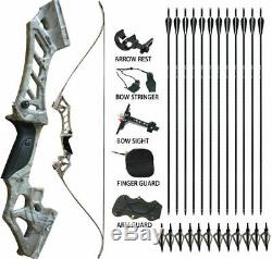 30-70lbs Archery Recurve Bow Longbow Sets Hunting Target & 12Arrowsheads Camo