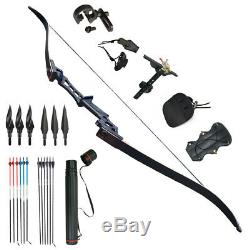 30-70lbs ArcheryTakedown Recurve Bow Longbow Set Hunting Target Outdoor Sports