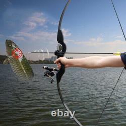 30lbs Fishing Hunting Recurve Bow Takedown Longbow Archery Fishing Reel Shooting