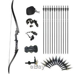 35lb Archery Recurve Bow Set 57'' Takedown Hunting 12 Arrows Points Adult Pro