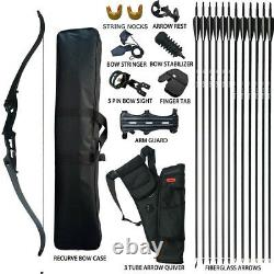 40lb Archery 56 Takedown Recurve Bow Set 12x Arrow Right Hand Adult Hunting
