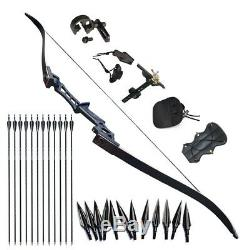 40lb Archery Takedown Hunting Recurve Bow Right Hand 57 Black Arrows Set
