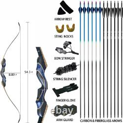 50LB Takedown Recurve Archery Bow Kit Hunting Practice Wood Bow Riser Accessory