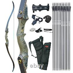 50LBS Archery 60 Takedown Recurve Bow Kit Hunting Arrows Right Hand Adult