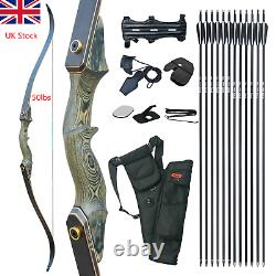 50LBS Recurve Bow Fiberglass Arrows Set Wooden Riser Archery Hunting Target#UK
