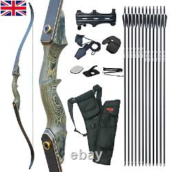 50lb 60 Takedown Recurve Bow Set Archery Right Hand Hunting Practice Longbow