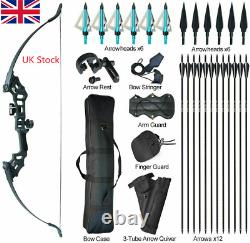 50lb Archery Takedown Recurve Bow Set Hunting Arrows Target Right Hand Bow #UK