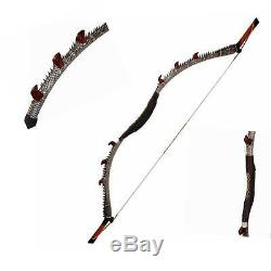 50lb Snakeskin Recurve Bow 57'' Traditional Mongolian Bow Hunting Archery Target