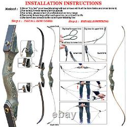 50lb Takedown Recurve Bow Set Right Hand Bow Hunting Practice Longbow Accessary