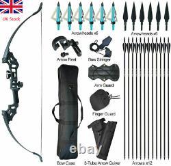 51'' Archery Takedown Recurve Bow Set Fiberglass Arrows Broadheads Hunting 50LBS