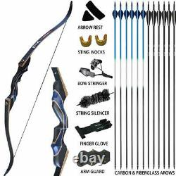 54 Archery 50lbs Recurve Bow Kit Wood Riser Hunting Arrows Right Hand Adult