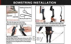 55lbs Archery Recurve Bow Set Takedown Hunting Target 12X Fiberglass Arrows USA