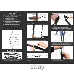 56 Archery Takedown Hunting Recurve Bow Right Hand & Arrows Quiver Tips 30-50lb