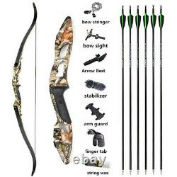 56 Archery Takedown Recurve Bow Carbon Arrows Set 30-50lbs Target Shooting Hunt