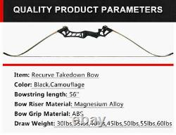 57'' Recurve Bow Mixed Carbon Arrows Set Hunting Archery Right Handed Target