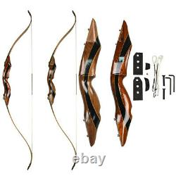 58'' Recurve Bow Wooden Takedown 25-55lbs Archery Right Hand Hunting Shooting