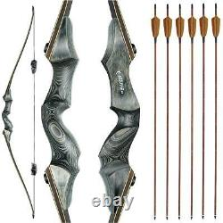 60 Archery Longbow Takedown 45lbs Hunting Bow Right Hand Bamboo Core Limbs