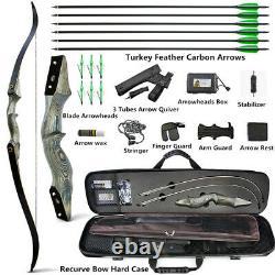 60'' Archery Recurve Bow Carbon Arrow Case Quiver Set Wooden Riser 25-60lbs Hunt