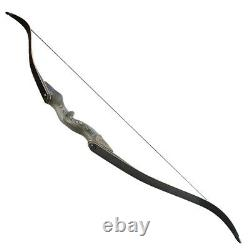 60'' Archery Recurve Bow Set Wooden Takedown 30-60lbs Hunting Shooting Target