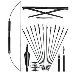 60 Folding Archery Takedown Bow RH + 6X Carbon Arrows, 6X Hunting Arrowheads