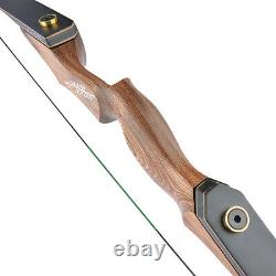 60 Takedown Recurve Bow 20-60lbs Wooden Riser Carbon Arrows Archery Hunting