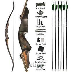 60 Takedown Recurve Bow 25-60lbs Carbon Arrows Wooden Archery Hunting Target