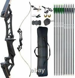 60lb 57 Archery Recurve Bow Kit Takedown Longbow Set Right Hand Adult Hunting