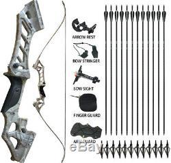 60lbs Archery Recurve Bow Longbow Adults RH Hunting Fishing 12X Fiberglass Arrow