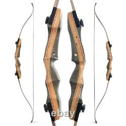 62 Wooden Recurve Bow 30-50lbs Takedown Bamboo Core Limbs Archery American Hunt