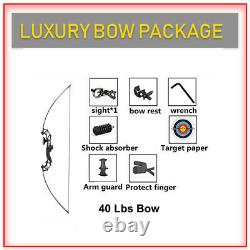 8 in 1, 40LBS Luxury Right Hand Bow Archery Arrow Target Hunting Archery Bow Set