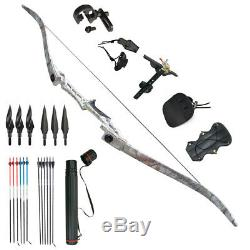 Adult Recurve Bows 30 40 50 60 65 70lbs Takedown Hunting Beginner Set RH 54'