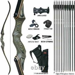 Archery 50LBS 60 inches Recurve Bow Kit Hunting Set Arrows Right Hand Adult