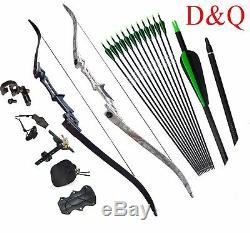 Archery Recurve Bow 30/35/40/45/50/55/60lbs 57 Hunting Target Fiberglass Arrows
