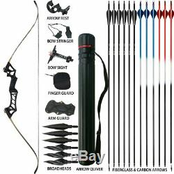 Archery Recurve Takedown Bows for Adults Set 45LBS Hunting Target 57 Right Hand