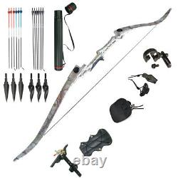 Archery Takedown Recurve Bow Set Handle Carbon Arrow Shooting Hunting Right Hand