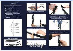 Archery Takedown Recurve Bow Set Longbow Right Hand Adult Hunting Practice 50lbs