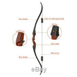 Archery Wooden Riser Takedown Recurve Bow & Arrows Set RH Hunting 30-50lb Target
