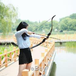 Black 30-50lb Archery 60 Recurve Bow Longbow Hunting Right Hand Shooting Target