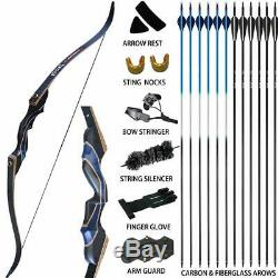 D&Q 40lb Archery 54 Takedown Recurve Bow Kit Hunting Arrows Right Hand Adult