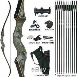 D&Q Archery 60 Takedown Recurve Bow Set RH 60lb Outdoor Hunting Sport Kits