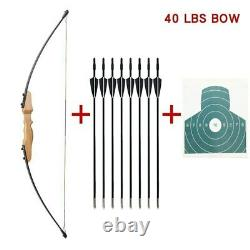 Traditional Archery Mongolian Horsebow 40# Hunting Recurve Bow Wooden Arrows Set